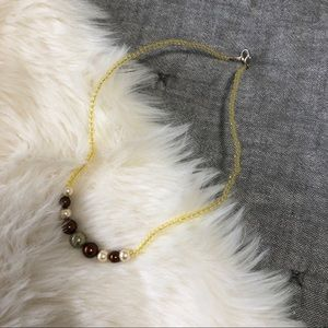 Artisan made glass beaded neutral tone necklace